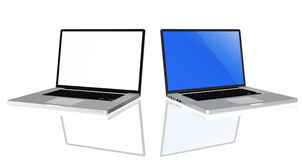 Laptop Computers. High quality render of gray high-end laptop computer with white screen stock image