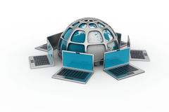 Laptop computers around a world Stock Photography