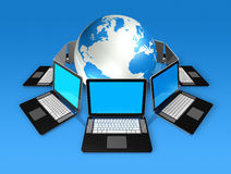 Laptop computers around a world globe vector illustration