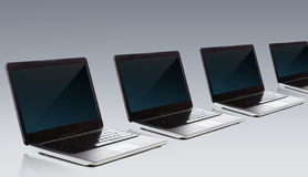 Laptop computers with blank black screen Stock Photo