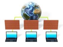 Laptop computers door firewall worden beschermd die 3D Illustratie vector illustratie
