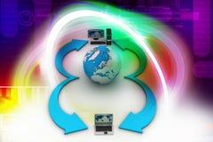 Laptop computers met Aardebol stock illustratie