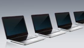Laptop computers met het lege zwarte scherm stock illustratie