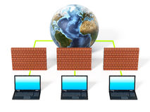 Laptop computers protected by firewall. 3D illustration.  Royalty Free Stock Images