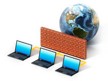 Laptop computers protected by firewall. 3D illustration.  Stock Photography