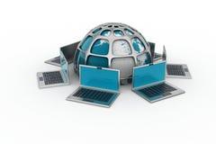 Laptop computers rond een wereld vector illustratie