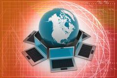 Laptop computers rond een wereld stock illustratie
