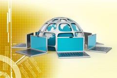 Laptop computers rond een wereld royalty-vrije illustratie
