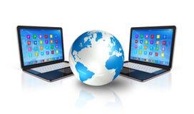 Laptop Computers rond Wereldbol vector illustratie