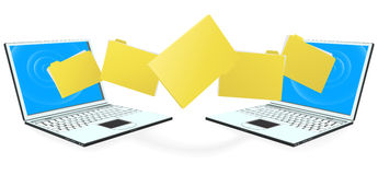 Laptop computers transferring files. Two laptop computers with file, folder or documents transferring between each other Stock Photography