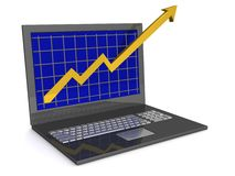 Laptop. The concept of financial growth. 3D image Royalty Free Stock Image