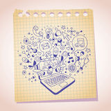 Laptop concept note paper cartoon sketch Stock Image