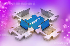 Laptop connect in puzzles Royalty Free Stock Photo