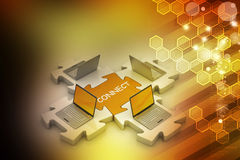 Laptop connect in puzzles Stock Photography