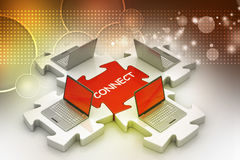 Laptop connect in puzzles Stock Image