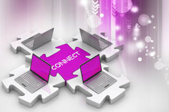 Laptop connect in puzzles Stock Photo