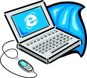 Laptop connected with a cell phone. Illustration stock illustration