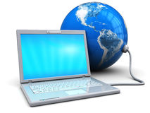 Laptop connected to earth Royalty Free Stock Image