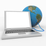 Laptop connected to the earth sphere. Royalty Free Stock Photos