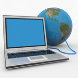 Laptop connected to the earth sphere. Computer generated image royalty free illustration