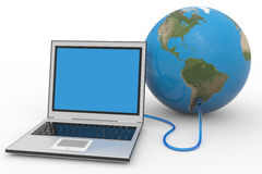 Laptop connected to the earth sphere. Royalty Free Stock Image
