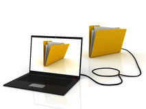 Laptop connected to folder. 3D render Stock Photos