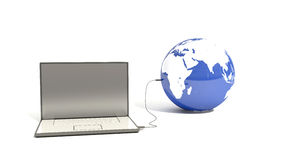 Laptop connected to the planet earth.  Royalty Free Stock Photography