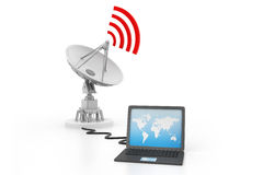 Laptop connected to satellite dish Royalty Free Stock Image