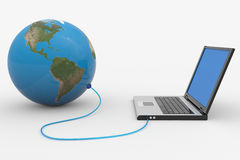 Laptop Connected To The Earth Sphere. Stock Images