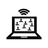 Laptop connected to wifi Royalty Free Stock Photos