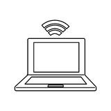 Laptop connected to wifi Stock Photography