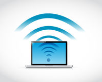 Laptop connection wifi illustration design Royalty Free Stock Photo