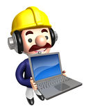 Laptop Construction site man  to promote. Work and Job Character Royalty Free Stock Photo