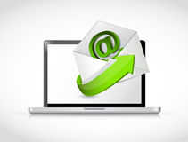 Laptop and contact us email illustration design. Over white Royalty Free Stock Images