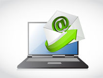 Laptop and contact us email illustration design Stock Images