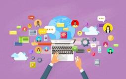 Laptop Content Web Site Social Network Communication. Laptop Digital Content Web Site Social Network Communication Flat Vector Illustration Stock Image