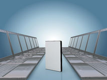 Laptop corridor with DVD software case Royalty Free Stock Image