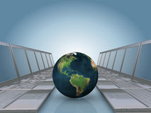 Laptop corridor with Earth globe Royalty Free Stock Image
