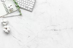 Laptop, cotton branch, notebook on white background flat lay copy space. Minimal freelancer, blogger desk workspace. Laptop, cotton branch, notebook on white stock image