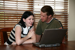Laptop Couple Royalty Free Stock Photography