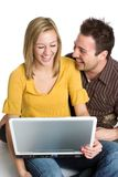 Laptop Couple Stock Photo