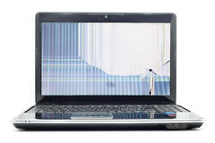 Laptop cracked LCD screen Royalty Free Stock Images