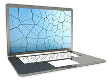Laptop with cracked screen on white Royalty Free Stock Photography