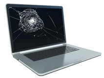 Laptop with cracked screen on white Stock Images