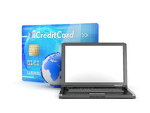 Laptop and credit card Royalty Free Stock Images