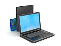 Laptop, credit card and black leather wallet stock photos