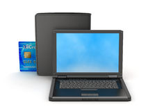 Laptop, credit card and black wallet Stock Image