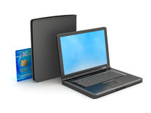Laptop, credit card and black wallet stock photos