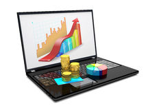 Laptop, credit card, coins and diagram. Stock Photo