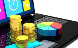 Laptop, credit card, coins and diagram. Stock Image